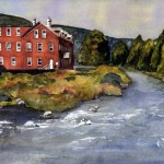 B018 - Mill on Housatonic- River, Lee, in Summer