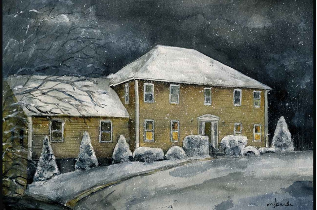 Winter Colonial in Evening