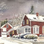 Red Farmhouse - Winter