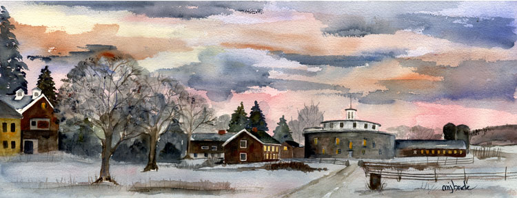 B087-Winter-Dusk-Hancock-Shaker-Village